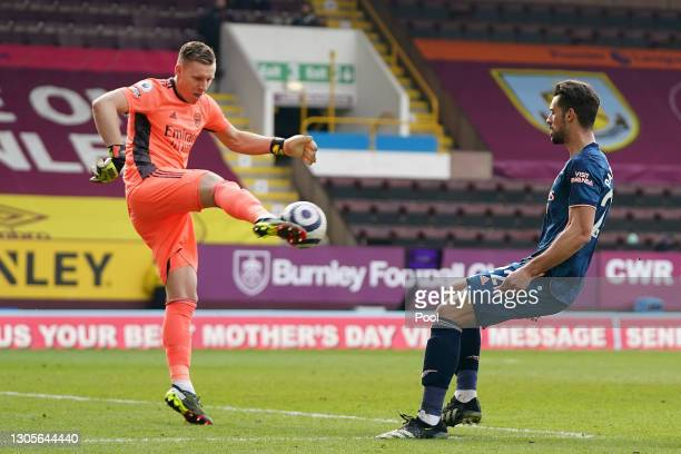Bernd Leno of Arsenal clears the ball during the Premier League match between Burnley and Arsenal at Turf Moor on March 06, 2021 in Burnley, England....