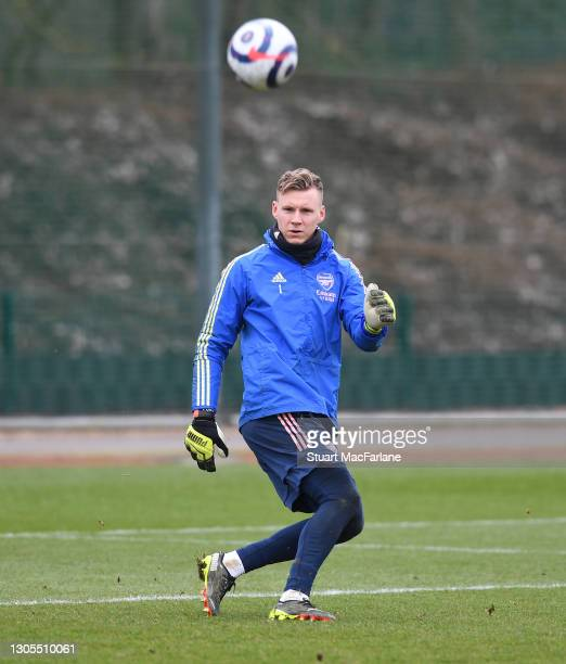 Bernd Leno of Arsenal during a training session at London Colney on March 05, 2021 in St Albans, England.