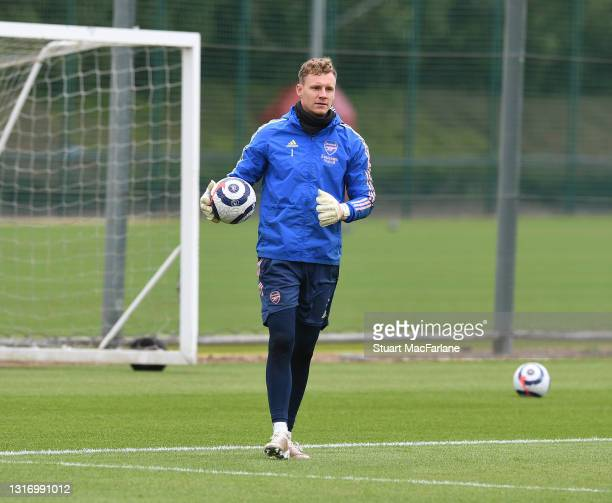 Bernd Leno of Arsenal during a training session at London Colney on May 08, 2021 in St Albans, England.