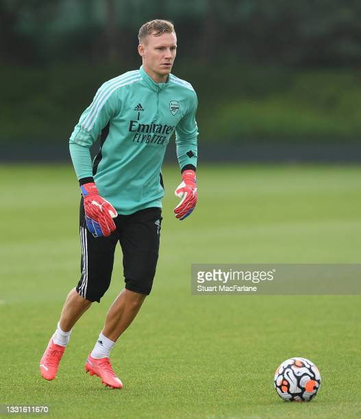Bernd Leno of Arsenal during a training session at London Colney on July 30, 2021 in St Albans, England.