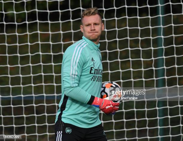 Bernd Leno of Arsenal during a training session at London Colney on September 28, 2021 in St Albans, England.