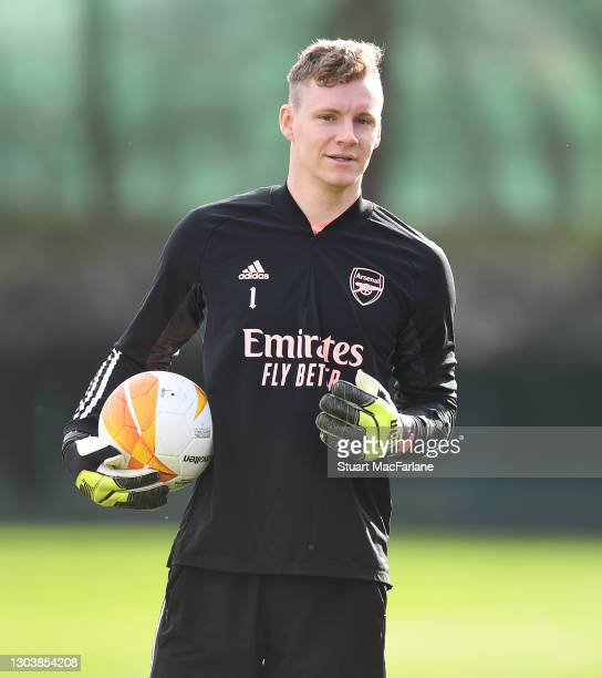 Bernd Leno of Arsenal during a trining session at London Colney on February 24, 2021 in St Albans, England.