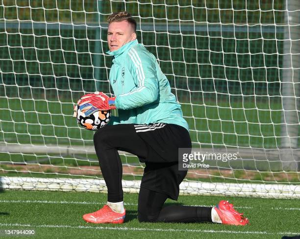 Bernd Leno of Arsenal during the Arsenal 1st team training session at London Colney on October 21, 2021 in St Albans, England.