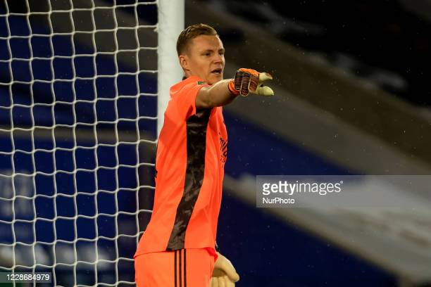 Bernd Leno of Arsenal during the Carabao Cup match between Leicester City and Arsenal at the King Power Stadium Leicester England on 23rd September...