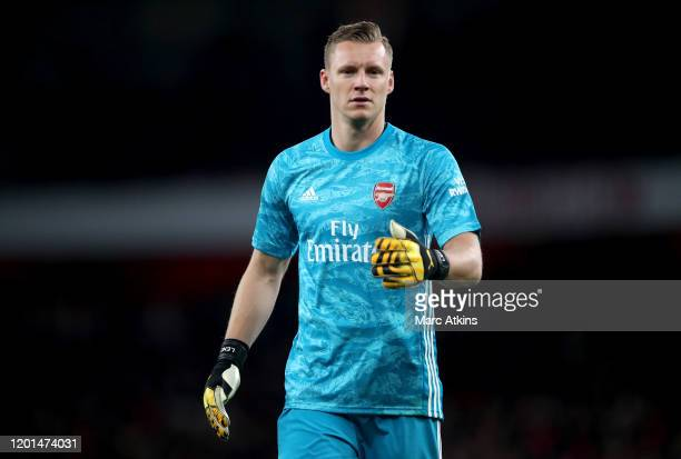 Bernd Leno of Arsenal during the Premier League match between Arsenal FC and Newcastle United at Emirates Stadium on February 16 2020 in London...