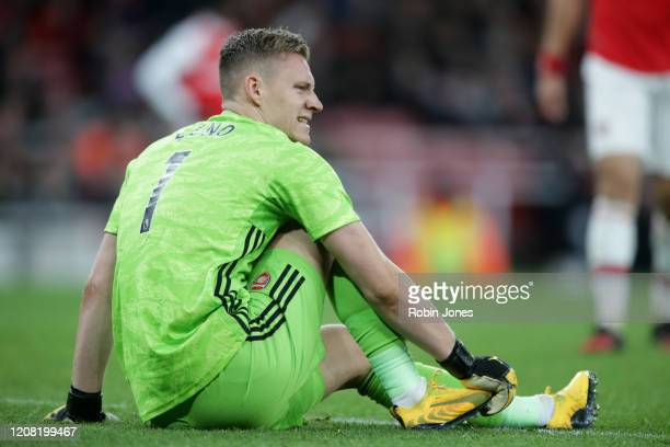 Bernd Leno of Arsenal during the Premier League match between Arsenal FC and Everton FC at Emirates Stadium on February 23 2020 in London United...