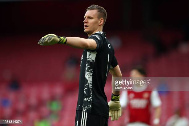 Bernd Leno of Arsenal during the Premier League match between Arsenal and Manchester City at Emirates Stadium on February 21, 2021 in London, United...