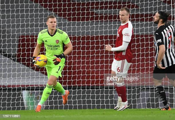 Bernd Leno of Arsenal during the Premier League match between Arsenal and Newcastle United at Emirates Stadium on January 18, 2021 in London,...