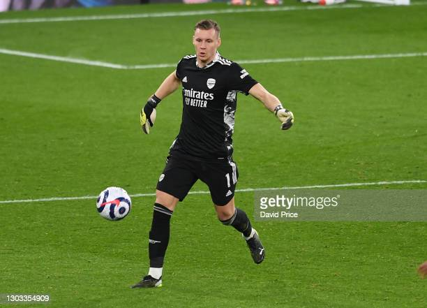 Bernd Leno of Arsenal during the Premier League match between Arsenal and Manchester City at Emirates Stadium on February 21, 2021 in London,...