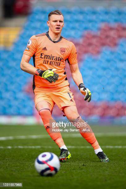 Bernd Leno of Arsenal during the Premier League match between Burnley and Arsenal at Turf Moor on March 6, 2021 in Burnley, United Kingdom. Sporting...