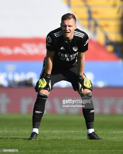 Bernd Leno of Arsenal during the Premier League match between Leicester City and Arsenal at The King Power Stadium on February 28, 2021 in Leicester,...