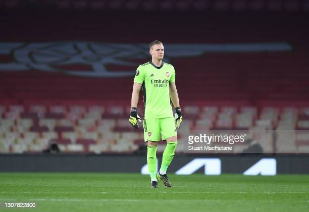 Bernd Leno of Arsenal during the UEFA Europa League Round of 16 Second Leg match between Arsenal and Olympiacos at Emirates Stadium on March 18, 2021...