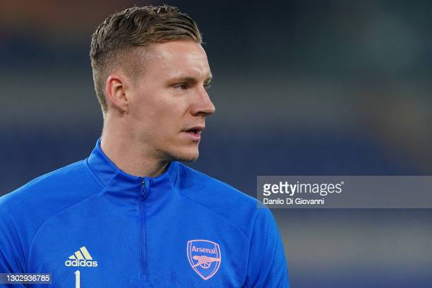 Bernd Leno of Arsenal during the UEFA Europa League Round of 32 match between SL Benfica and Arsenal FC at Stadio Olimpico on February 18, 2021 in...