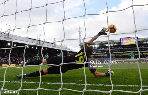 Bernd Leno of Arsenal fails to stop a penalty from Luka Milivojevic of Crystal Palace for his side's second goal during the Premier League match...