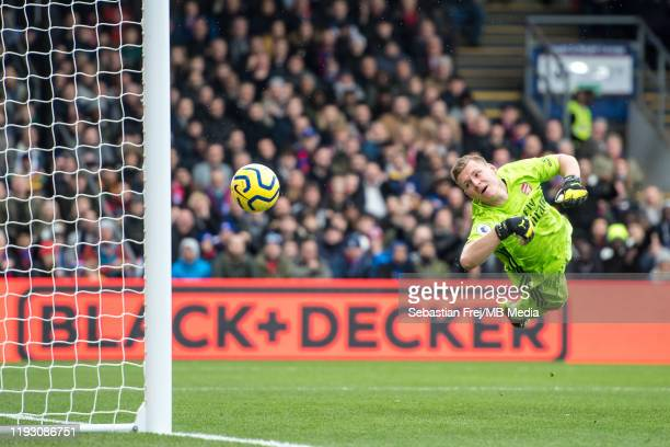 Bernd Leno of Arsenal FC concedes goal during the Premier League match between Crystal Palace and Arsenal FC at Selhurst Park on January 11 2020 in...