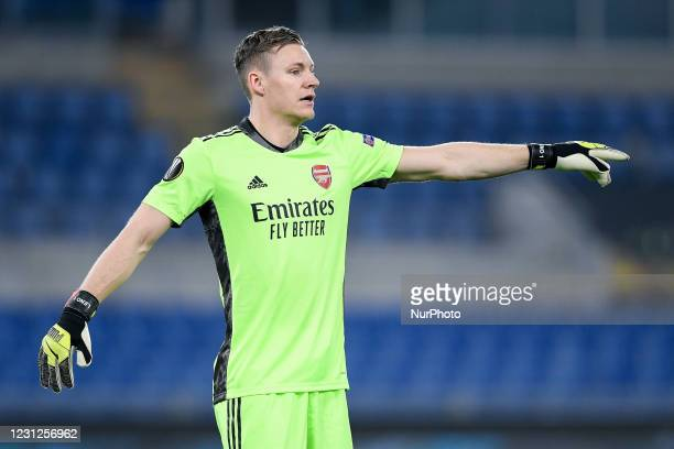 Bernd Leno of Arsenal FC during the UEFA Europa League round of 32 Leg 1 match between SL Benfica and Arsenal FC at Stadio Olimpico, Rome, Italy on...