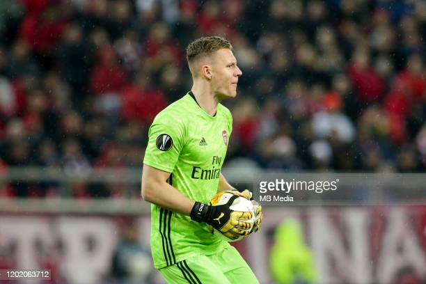 Bernd Leno of Arsenal FC during the UEFA Europa League round of 32 first leg match between Olympiacos FC and Arsenal FC at Karaiskakis Stadium on...