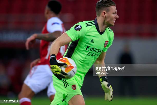 Bernd Leno of Arsenal FC during the UEFA Europa League Round of 32 match between Arsenal FC and SL Benfica at Karaiskakis Stadium on February 25,...