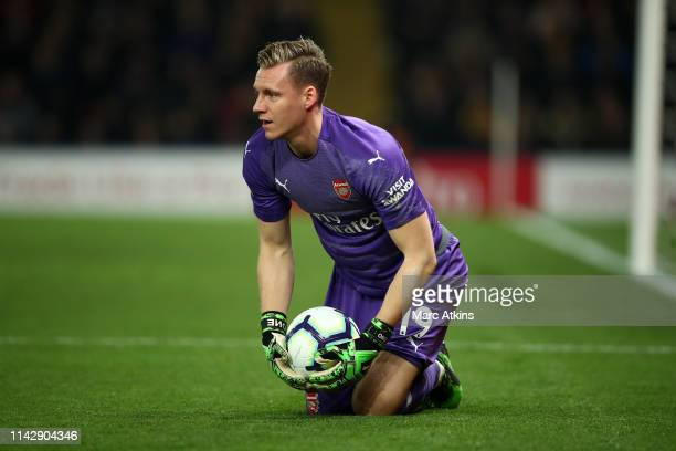 Bernd Leno of Arsenal gathers the ball during the Premier League match between Watford FC and Arsenal FC at Vicarage Road on April 15 2019 in Watford...
