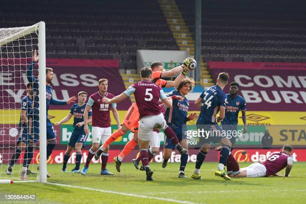 Bernd Leno of Arsenal gathers the ball during the Premier League match between Burnley and Arsenal at Turf Moor on March 06, 2021 in Burnley,...