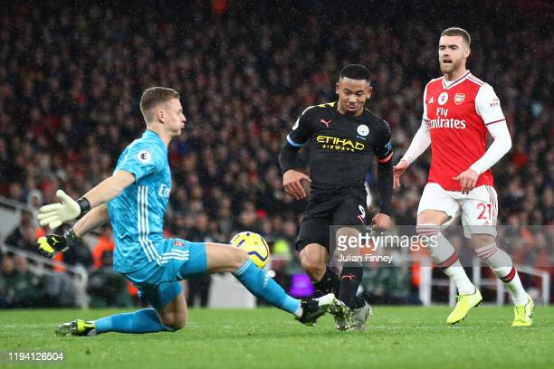 Bernd Leno of Arsenal makes a save from Gabriel Jesus of Manchester City during the Premier League match between Arsenal FC and Manchester City at...