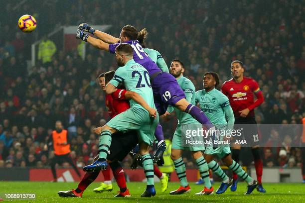 Bernd Leno of Arsenal punches during the Premier League match between Manchester United and Arsenal FC at Old Trafford on December 5 2018 in...