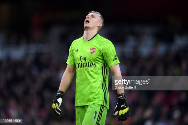 Bernd Leno of Arsenal reacts after Chelsea score their first goal during the Premier League match between Arsenal FC and Chelsea FC at Emirates...