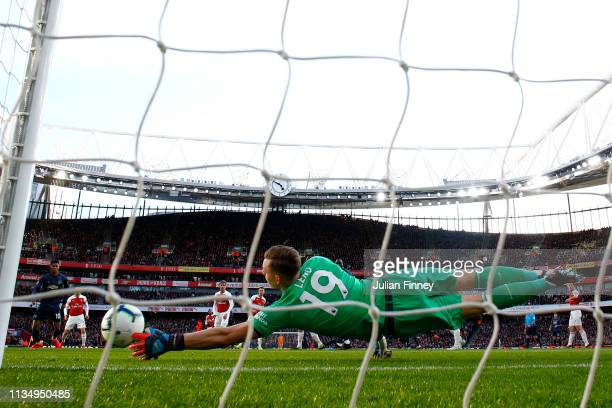 Bernd Leno of Arsenal saves the ball during the Premier League match between Arsenal FC and Manchester United at Emirates Stadium on March 10, 2019...