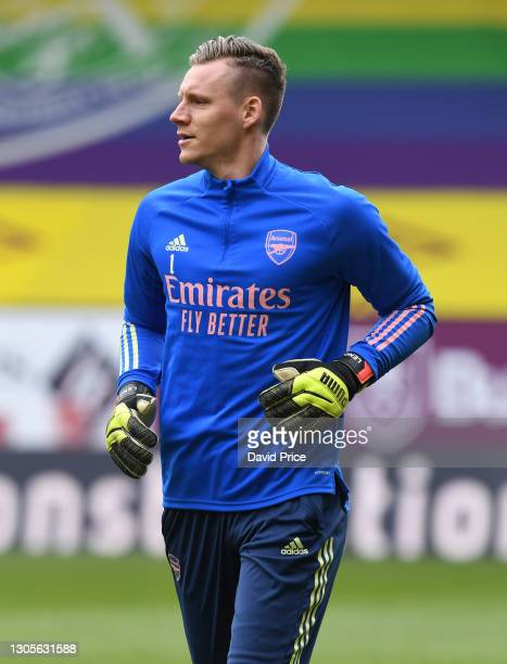 Bernd Leno of Arsenal warms up before the Premier League match between Burnley and Arsenal at Turf Moor on March 06, 2021 in Burnley, England....