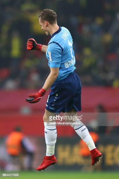 Bernd Leno of Bayer Leverkusen celebrates his teams first goal by Kevin Volland of Bayer Leverkusen during the Bundesliga match between Bayer 04...