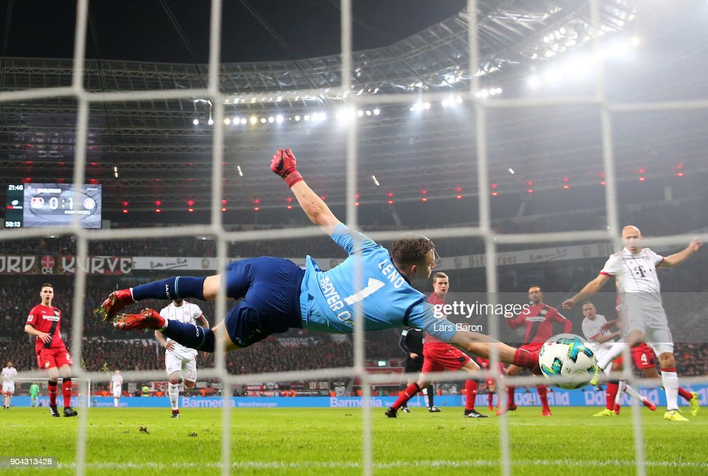 Bernd Leno of Bayer Leverkusen fails to stop Franck Ribery of Bayern Muenchen (2R) as he scores their second goal during the Bundesliga match between Bayer 04 Leverkusen and FC Bayern Muenchen at BayArena on January 12, 2018 in Leverkusen, Germany.