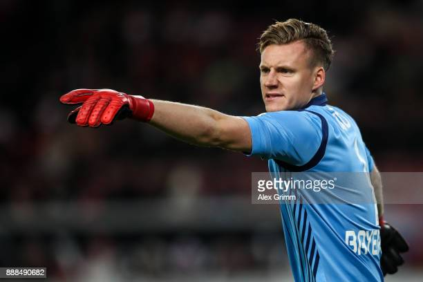 Bernd Leno of Bayer Leverkusen reacts during the Bundesliga match between VfB Stuttgart and Bayer 04 Leverkusen at MercedesBenz Arena on December 8...