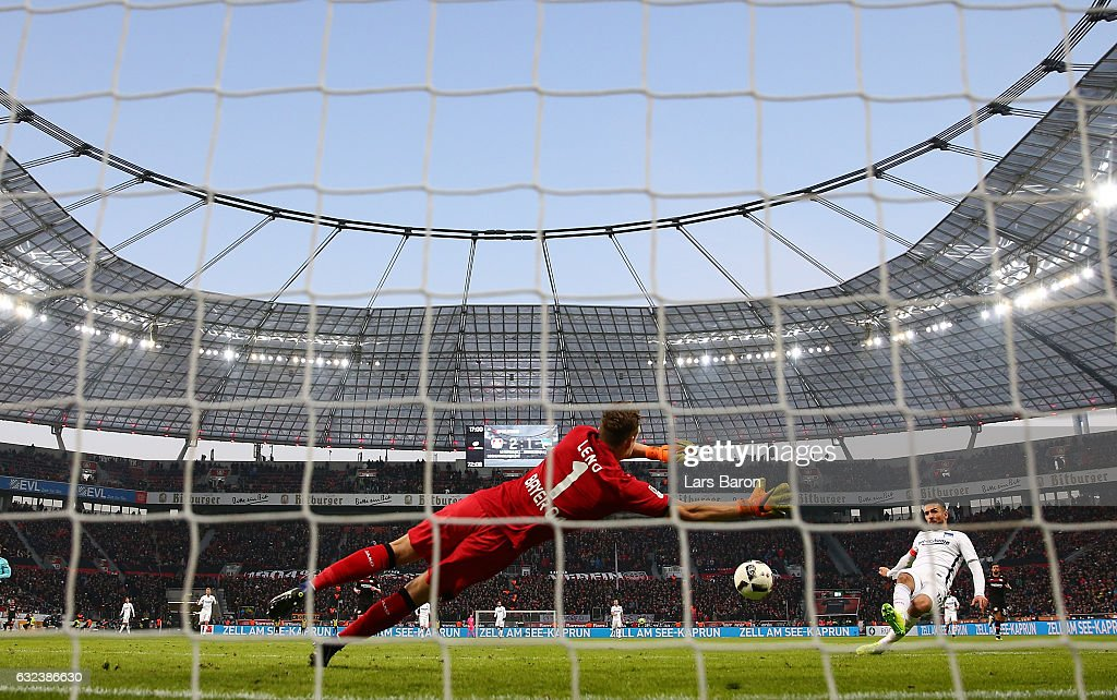 Bernd Leno of Leverkusen saves a shot from Vedad Ibisevic of Berlin during the Bundesliga match between Bayer 04 Leverkusen and Hertha BSC at BayArena on January 22, 2017 in Leverkusen, Germany.