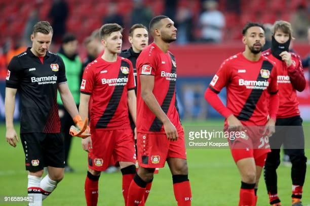 Bernd Leno Panagiotis Retsos Jonathan Tah and Karim Bellarabi of Leverkusen look dejected after the Bundesliga match between Bayer 04 Leverkusen and...