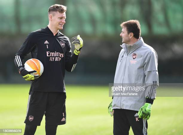 Bernd Leno with Arsenla goalkeeping coach Inaki Cana Pavon during a trining session at London Colney on February 24, 2021 in St Albans, England.