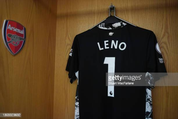 Bernd Leno's shirt hangs in the Arsenal changing room before the Premier League match between Arsenal and Manchester City at Emirates Stadium on...