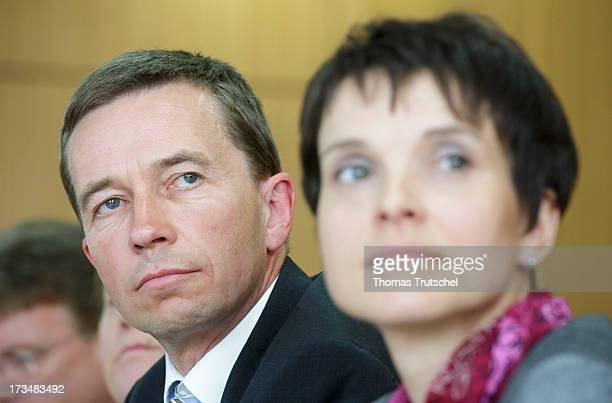 Bernd Lucke and Frauke Petry of the 'Alternative fuer Deutschland' political party are pictured during a press conference on July 15 2013 in Berlin...