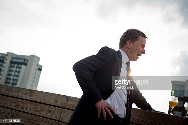Bernd Lucke chairman of the German party AfD Alternative for Germany center attends a party meeting after the elections in the state of Saxony that...
