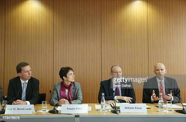 Bernd Lucke chairman of the new Alternative fuer Deutschland political party party cospokeswoman Frauke Petry party healthcare spokesman Wilhelm...