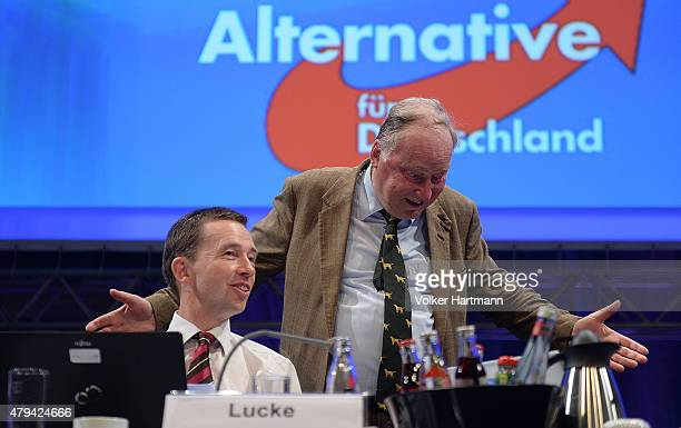 Bernd Lucke coChairman of the AfD and Alexander Gauland viceChairman arrive at the federal party congress on July 4 2015 in Essen Germany The AfD a...