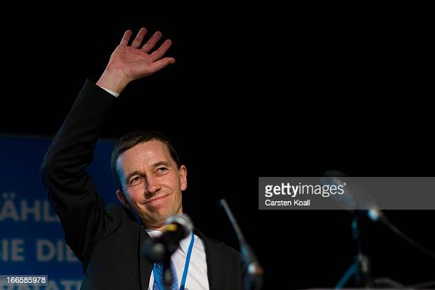 Bernd Lucke founder of the Alternative fuer Deutschland political party waves after his speach at the party's founding federal congress on April 14...