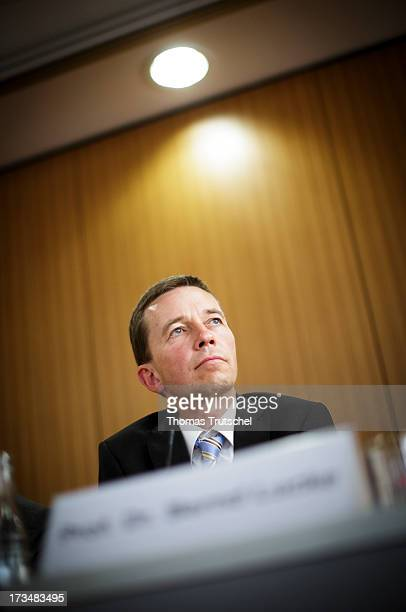 Bernd Lucke of the 'Alternative fuer Deutschland' political party speaks during a press conference on July 15 2013 in Berlin Germany AfD founded in...