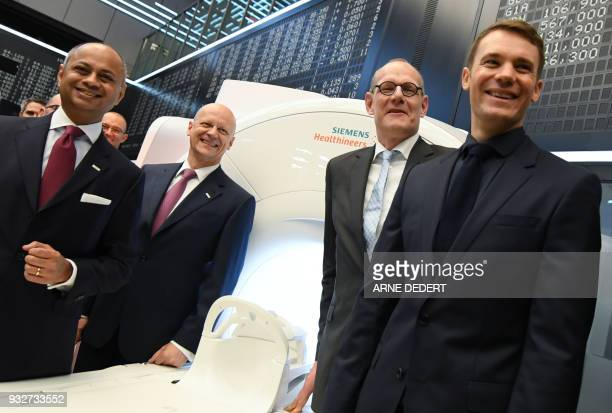 Bernd Montag chairman of German industrial giant Siemens' Healthineers unit supervisory board chairman Michael Sen Siemens AG CFO Ralf Thomas and...