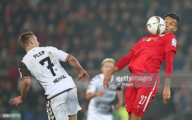 Bernd Nehrig of St Pauli and Davie Selke of RB Leipzig battle for the ball during the Second Bundesliga match between FC St Pauli and RasenBallsport...