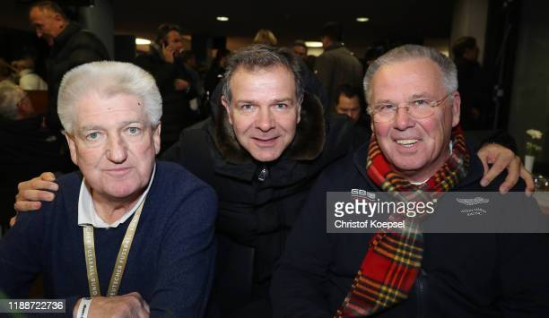 Bernd Nickel, Andreas Moeller and Peter Reichel attend the Club Of Former National Players Meeting at Commerzbank Arena on November 19, 2019 in...