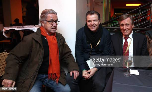 Bernd Patzke Andy Moeller and Siggi Held members of the Club of Former National Players attend the International friendly match between Germany and...