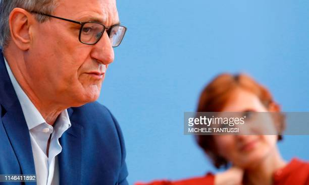 Bernd Riexinger and Katja Kipping coleaders of Germany's leftwing Die Linke party address a press conference in Berlin on May 27 one day after...