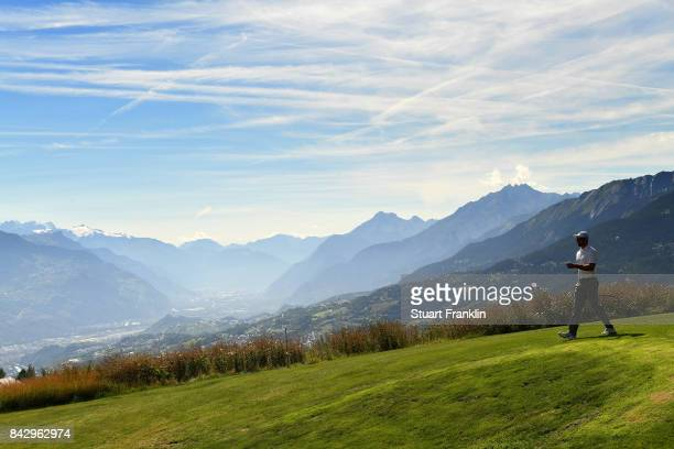 Bernd Ritthammer of Germany walks doen the seventh hole during practice prior to the start of the Omega European Masters at CranssurSierre Golf Club...