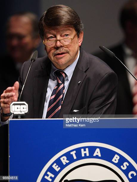 Bernd Schiphorst, member of the chairman board of the soccer club Hertha BSC Berlin holds a speech during general meeting at the ICC on November 30,...