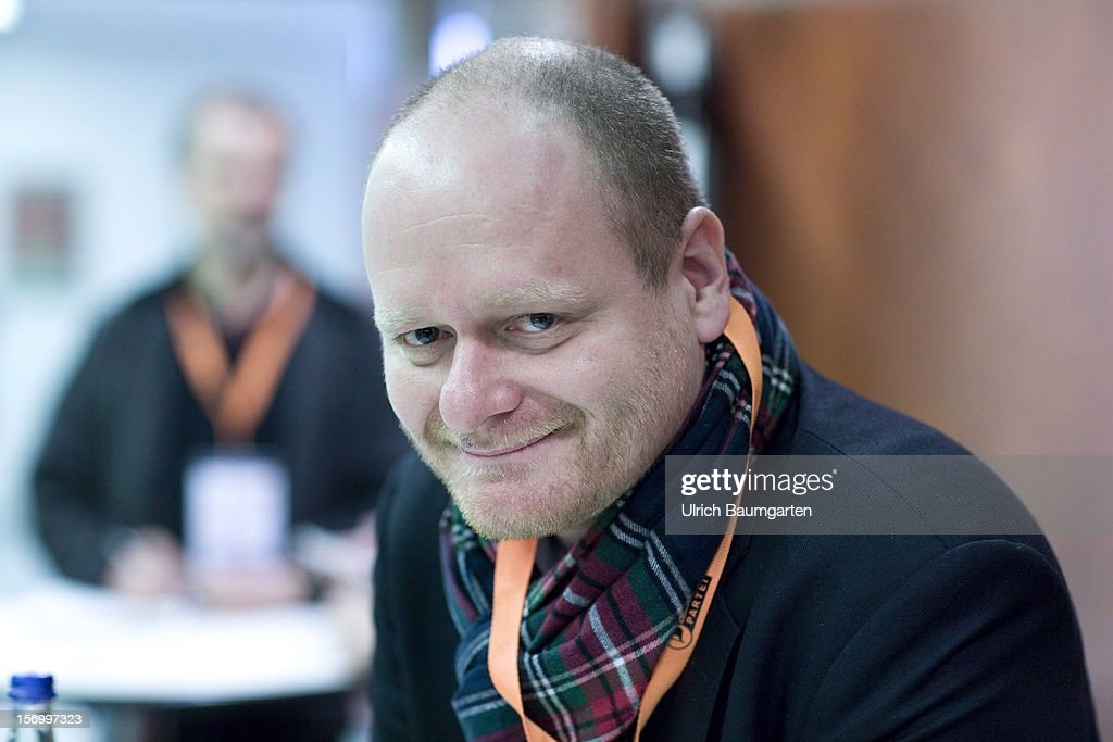 Bernd Schloemer, federal chairman of the Pirate party, at the Pirate Party National Convention at RuhrCongress on November 24, 2012 in Bochum, Germany. German Pirates have a lot to achieve as the party is flagging in the polls and facing national elections in less than a year.